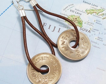 Fiji, Vintage Coin Earrings --- Funny Money --- World Travel - Island Paradise - Penny - Old Money - Boho - 1968