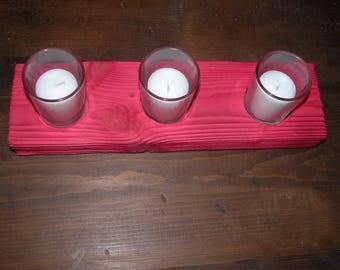 Votive Candle Holder - Unique Sandblasted Red Wood Candle Holder - Shabby Chic Decor