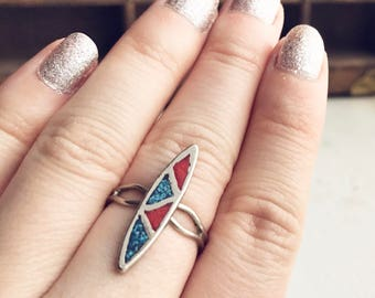 Vintage Southwest Style Adjustable Ring / Silver Red and Blue Turquoise Chips Tribal Navajo Boho Bohemian Native American Gypsy Festival