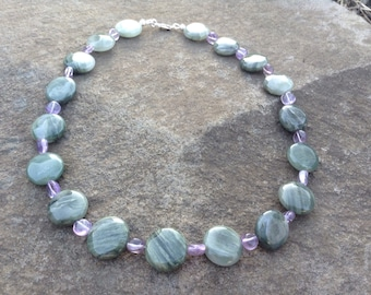 Amethyst and Moss Agate necklace - calm anxiety, childbirth support, balance mind and emotions,