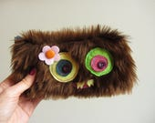 RESERVED - 10 Monster Bags, Furry Monster Pencil Cases, Small Zipper Bags, Kitschy Make-up Bags, Faux Fur Bags, Creepy Cute Kawaii Pouches