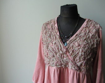 Plus Size Pink Tunic Dress, Shabby Chic, Empire Waist, Velour Tops, Upcycled Clothing, Mori Girl Velvet Dress, Recycle Repurpose Eco Fashion