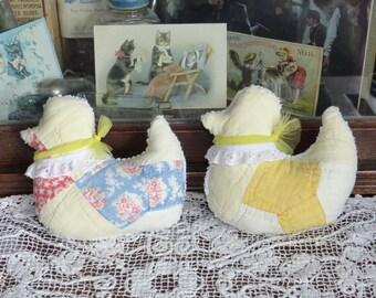 Antique Bow Tie Quilt Little Ducks Chicks Peeps Sachet pillows, Lavender Easter