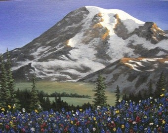 Mountain, Rainer, Washington, Spring, Bluebells, Indian Paintbrush, Valley, Field, Snow, Flowers, Tree, Original Landscape Oil Painting