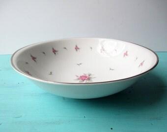 Vintage Serving Bowl Meito Pink Gray Rose