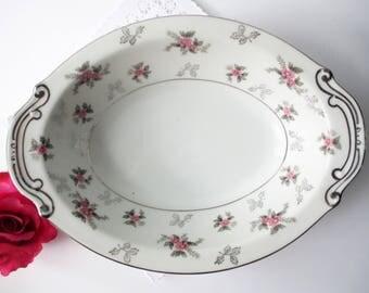 Vintage Serving Bowl Rosemere Pink and Gray Floral