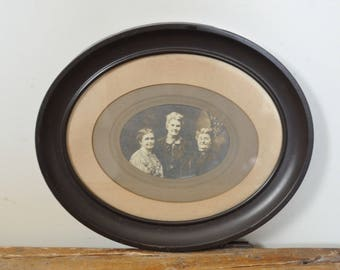 Victorian Framed Portrait Women Photograph Spinster Sisters Antique Ladies Oval Metal Picture Frame