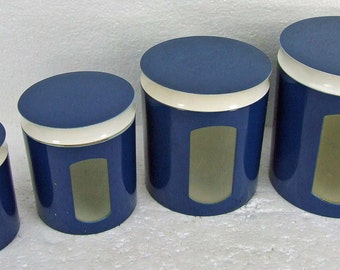 Vintage Retro Metal Navy Blue and White Copco Canister Set Storage Containers with See Through Front