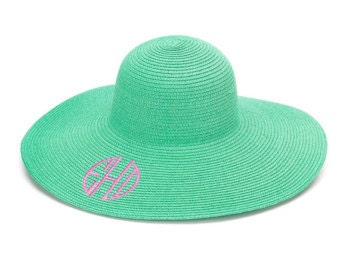 Monogrammed floppy hat/ sun hat/ beach hat/ wedding hat/ derby hat