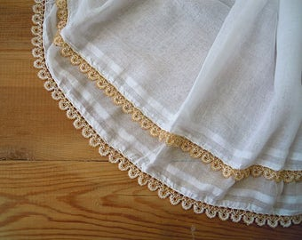 white cotton scarf, beaded edging