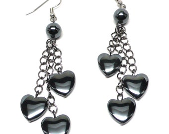 triple hematite heart chain gunmetal chain earrings pierced or clip-on