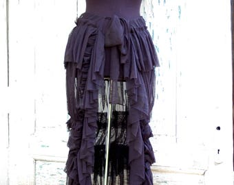 Skirt, bustle skirt, Morticia Addams, noire, witch, fusion, vampire, steampunk, goth, dark romance,layers and frills, dark choal,women skirt