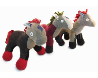 Cate and Levi Handmade Horse Stuffed Animal (Premium Reclaimed Wool), Colors Will Vary