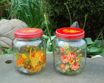 Antique / Vintage Pair Flower Applique Duraglas Glass Jars Kitchen Canisters w/ Applique Red Tin Lids; Owens-Illinois Glass; Rose Applique