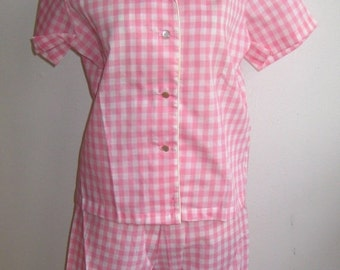 HOLIDAY SALE Vintage 50s 60s Deadstock Pink Cotton Gingham Slumber Party Pajamas size 34 NOS