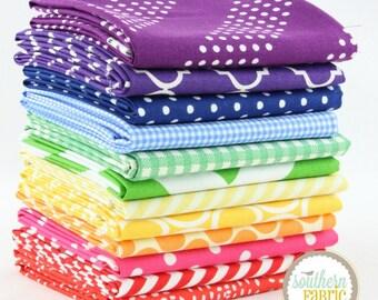 "Rainbow - Fat Quarter  Bundle - 12 - 18""x21"" Cuts - by Mixed Designers Quilt Fabric"