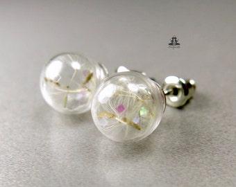 Earrings - dandelion flower and rainbow glitter