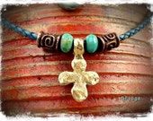Lucky CROSS Necklace Four Leaf Clover Cross BLUE Leather necklace Spiritual jewelry short necklace Gypsy Cowgirl Christian Hamsa Hand GPyoga