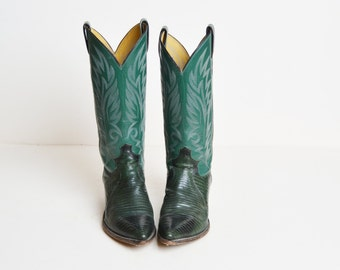 Vintage 70s Leather COWBOY BOOTS by Justin / 1970s Two Tone Green Leather Boots 7.5
