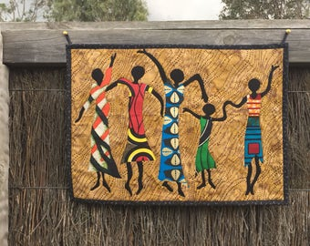 Dancing Queens Black Silhouette with African Fabric Ethnic Wall Hanging Quilt
