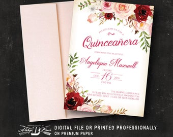 Quinceañera Invitation | Girls 15th Birthday Invitation | Floral Birthday Invitation | Printed or Printable Digital DIY Spanish Quinceanera
