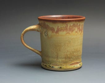 Handmade pottery coffee mug tea cup 14 oz yellow amber tea cup 3822