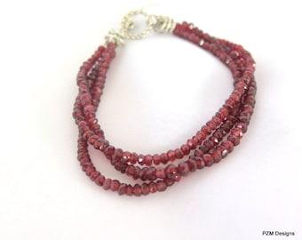 Three Strand Red Garnet Bracelet, Natural Red Garnet, Gift for Her
