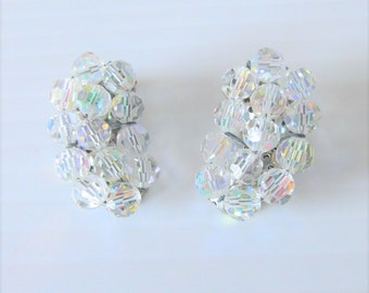 Vintage 1950's Clear White Rhinestone Earrings / Wedding Bridal Gorgeous Shiny Clip-On Earring Set