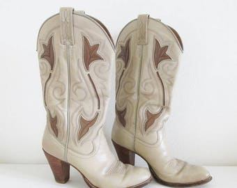 40% OFF SALE Vintage Leather Cowgirl Boots / Unique Dan Post Country Western Wooden Heeled Tall Boots Woman's Shoe Size 6 Made in SPAIN