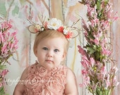 dearest springtime newborn fawn deer woodland antler crown halo floral headband prop