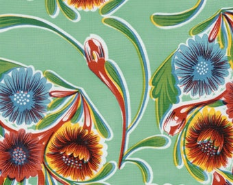 Blooms on Aqua Oilcloth Full Bolt of 12 Yards