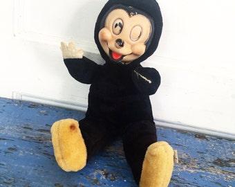 Vintage Woolikin Mickey Mouse Plush Doll, Vintage Mickey, Vintage Plush