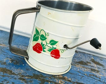 Vintage Tin Flour Sifter Strawberry Red Teleflora's