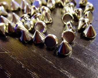 Destash (40) Tiny Spike Charms Beads - for pendants, jewelry making, crafts, scrapbooking