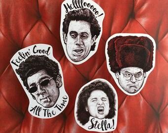 Seinfeld Four Vinyl Laptop Sticker Set | Car Decal | Phone Sticker