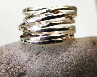 Sterling Lightweight Springy Hammer Wrap Ring - Made to Order