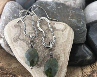 Rustic jelly bean sterling silver green serpentine gemstone earrings - gift ready