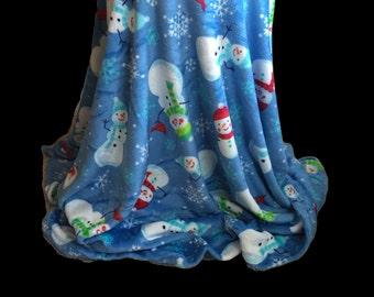 Embroidered Blanket-Snowmen-Personalized Monogrammed Blanket-Plush Oversized  Adult Throw-Custom Crib Blanket Gift