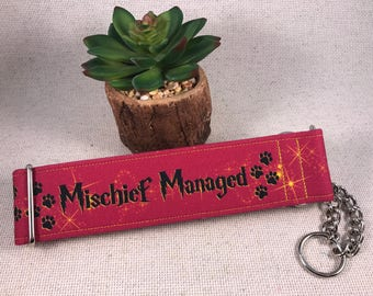 Large 2in Mischief Maker Gryffindor Harry Potter Geeky Red and Yellow Chain Martingale Dog Collar Ready to Ship