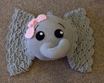 Elephant Pillow, Crochet Elephant Pillow, Decorative Pillow, Nursery Decor, Elephant Themed Decor