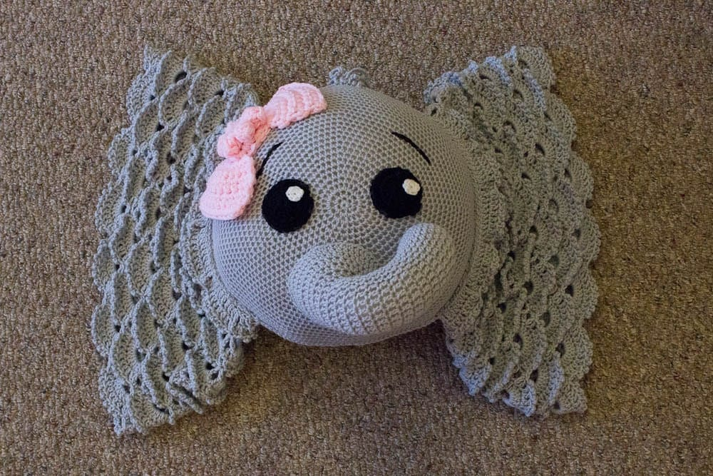 Elephant Pillow Crochet Elephant Pillow Decorative Pillow