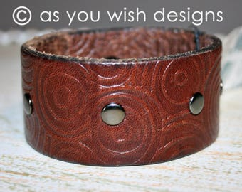 EMBOSSED Riveted Upcycle Leather Cuff Up-cycled Leather Cuff Bracelet From Belt Upcycle Upcycled