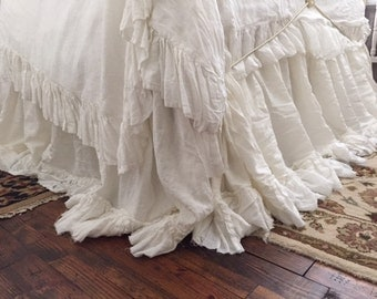 Romantic Linen Bedding--Washed Linen Bedding Set-King-Long Ruffled Duvet and Torn Ruffle Bed Skirt-Velvet Ribbon Trim