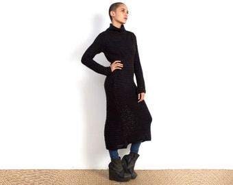 Black Knitted Sweater Dress - Sweatshirt Dress - Oversized Sweatshirt - Turtle Neck Sweater Dress