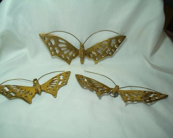 1992 Set Of Three Solid Brass Butterfly Wall Art.