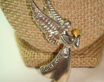 1995 Thank You silver Tone Angel Pin and pendant Combo.
