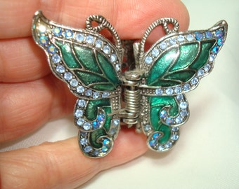 1994 Sparkly Emerald Green and Blue Topaz Colored Jeweled Hair Clip.