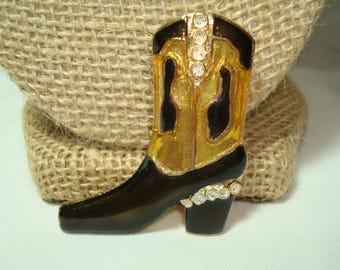 1990s Golden Cowgirl Boot Pin with Black Enamel and Plenty of Sparkle.