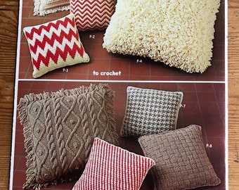 1974 Columbia Minerva Pillows 8 items to knit and crochet vintage pamphlet
