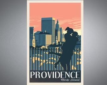 Providence, Rhode Island Prospect Park Retro styled Travel Poster
